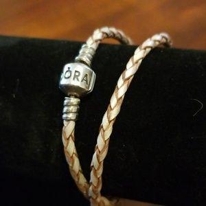 Pandora pink leather wrap bracelet